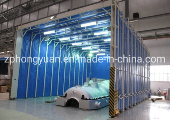 Open Face Mobile Retractable Telescopic Folding Paint Spray Booth for Large Heavy Workpiece