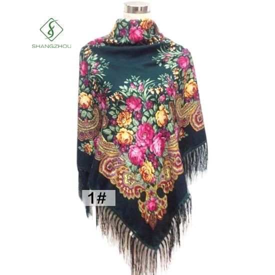 Lady Fashion Square Scarf with Tassel Peony Printed Shawl Wholesale