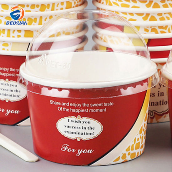 Customized Ice Cream Cup with Dome Plastic Lid pictures & photos