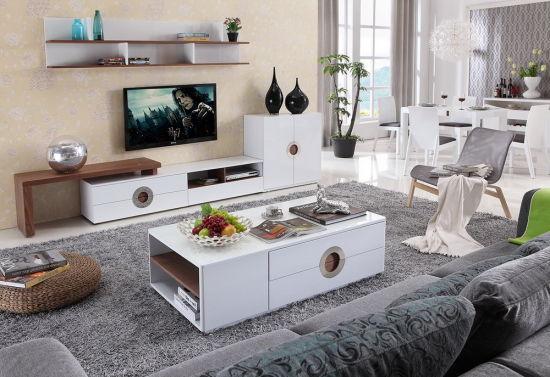 China High Gloss White Living Room Furniture Set (2024#) - China ...