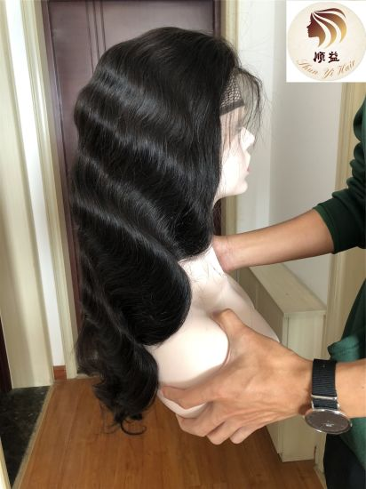 Popular Indian Body Wave Pre Plucked Baby Hair Around Lace Frontal Wig with Natural Hairline