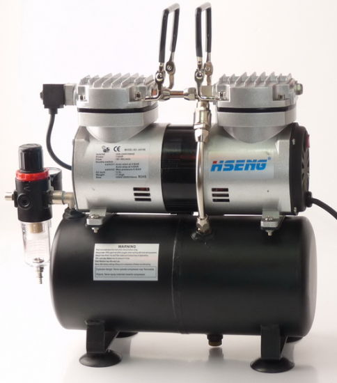 PRO Powerful Twin Cylinder Piston AIRBRUSH AIR COMPRESSOR w// TANK Hobby T Shirt