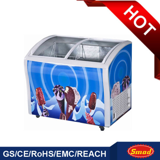 Ice Cream Freezer with Curved Sliding Top Glass Door