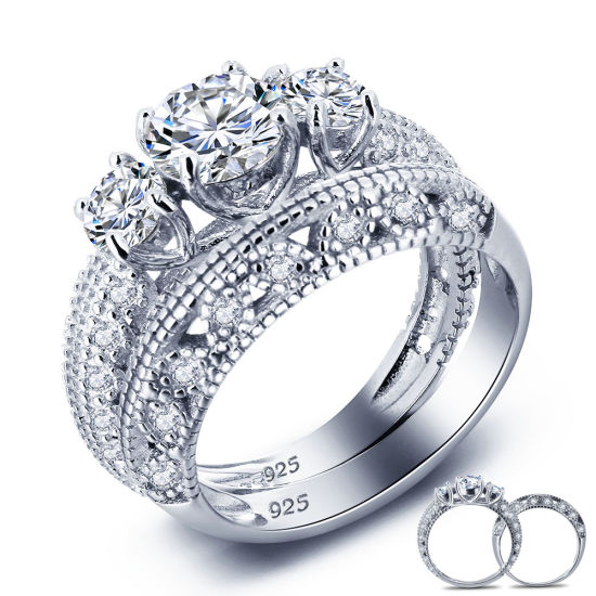 Women Wedding Gift Fine Jewelry Round Cut Sterling 925 Silver Promise Engagement Ring