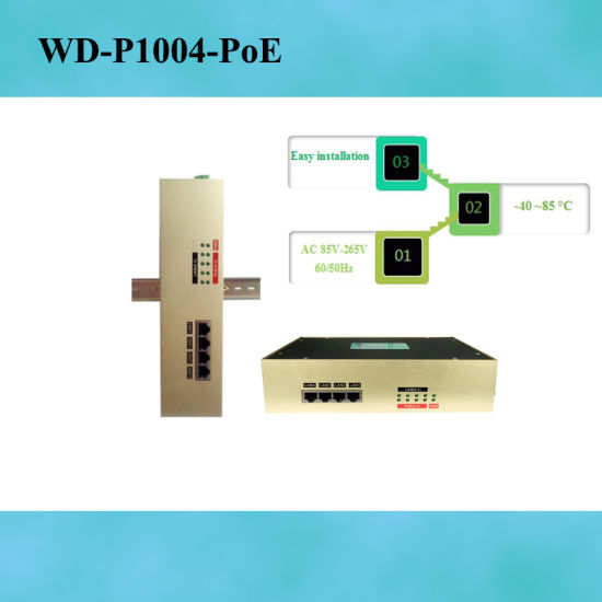 WD-P1004M-PoE Guide rail type non-network tube type industrial Ethernet switch