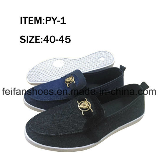 Latest Style Men Injection Jeans Upper Casual Shoes Canvas Shoes Wholesale (FFPY0414-01)