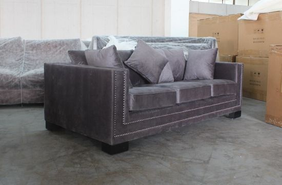 Dark Grey Velvet Fabric with Silver Nails 3 Seater Sofa pictures & photos