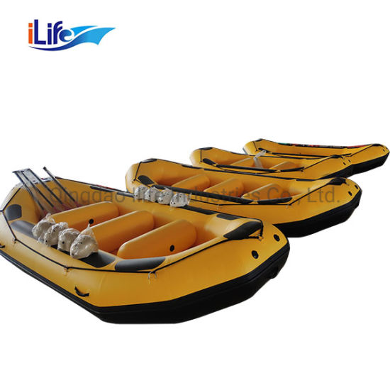Ilife Rafting Boat 4.3m Inflatable Hypalon/PVC White Water Whitewater River Rafts Boat with 10 People/ Self Bailing I-Beam Floor Price