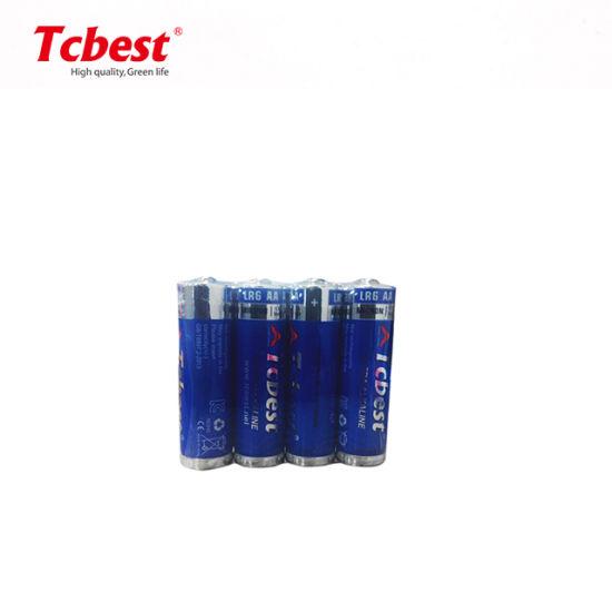 Lr6 AA 1.5V 350mins 4PCS Shrink Slim Package Alkaline Dry Battery
