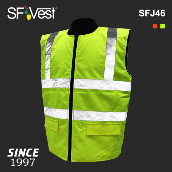 Wholesale High Visibility Safety Winter Lightweight Reversible Body Warmer Vest Jacket Reflective Clothing