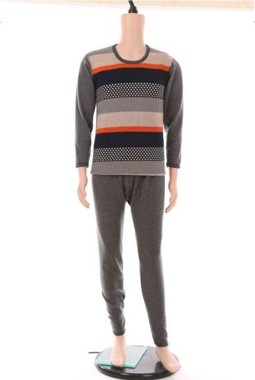 Men's Thermal Underwear Stripe Thick Autumn Clothes Round Neck Winter