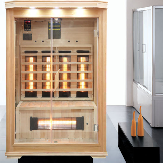 Far Infrared Dry Sauna Room with Yellow Light Glass Heater for 2 People Use
