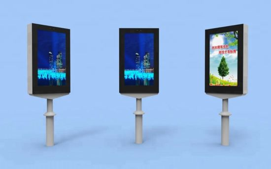32 Inch Outdoor LCD Pole Lamp Display with High Brightness and 4K Monitor TV