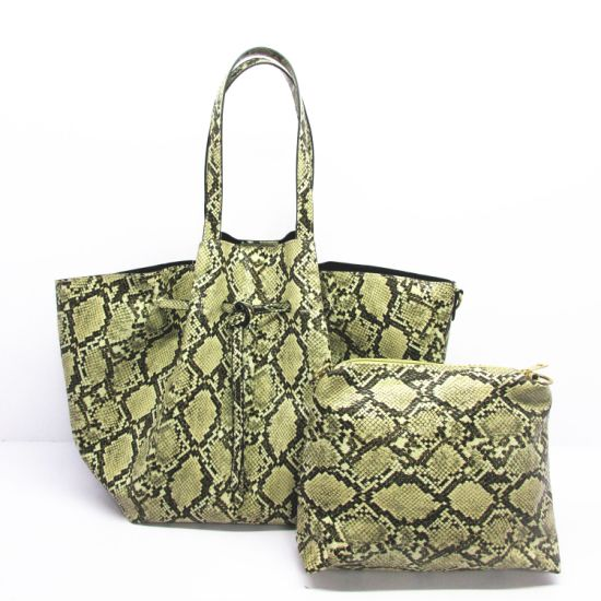 2020 Stylish Handbags Wholesale Reusable PU Shopping High Quality Snake Skin Leather Shoulder Tote Bag F9011 pictures & photos