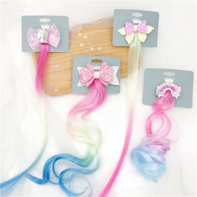 Bowknot Wig Hairpin Rainbow Unicorn Cute Hair Accessories for Children pictures & photos