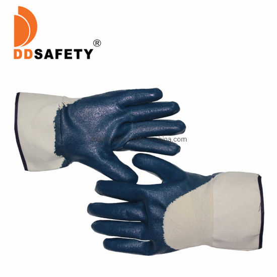 Anti-Oil Safety Cuff Blue Nitrile Coated with Jersey Liner Gloves