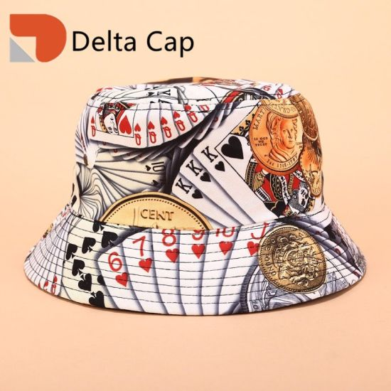 Custom Wholesale Fashion Unisex Summer Outdoor Travel Vacation Fishing Printing Double Sided Wear Basin Bucket Hat Leisure Cap pictures & photos
