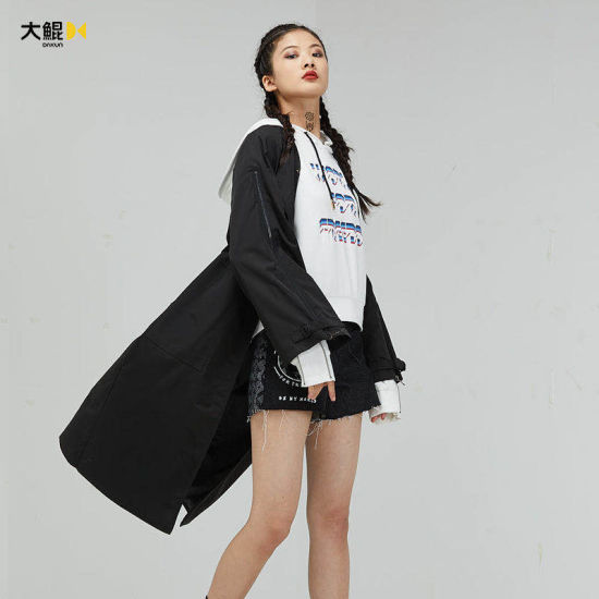 Chinese Famous Brand Dakun Women's Clothes Black Quality Long Beautiful Wind Coat