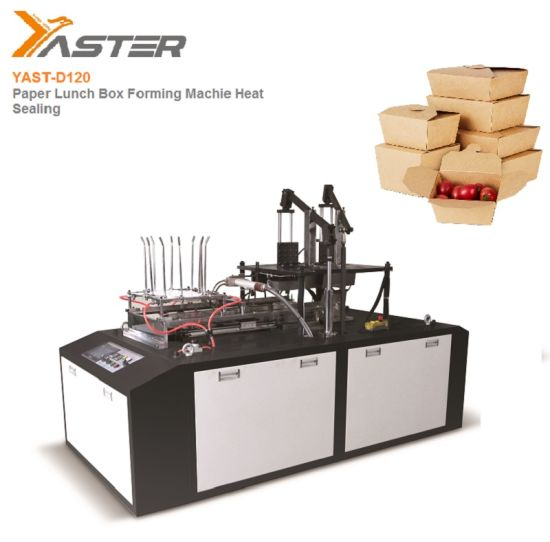 High Speed Automatic Heat Sealing Single Double PE Coated Disposable Paper Lunch Food Box Carton Packing Forming Making Machine Manchinery Price Yast-D120