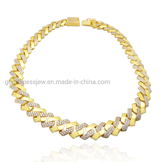 Miami Cuban Chain Hip Hop Silver Jewellery Necklace Bracelet Custom 18K Gold Plated Fashion Jewelry for Man and Women