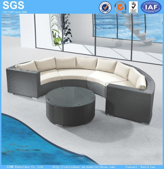 Pe Rattan Furniture Curved Sofa Set Outdoor Patio