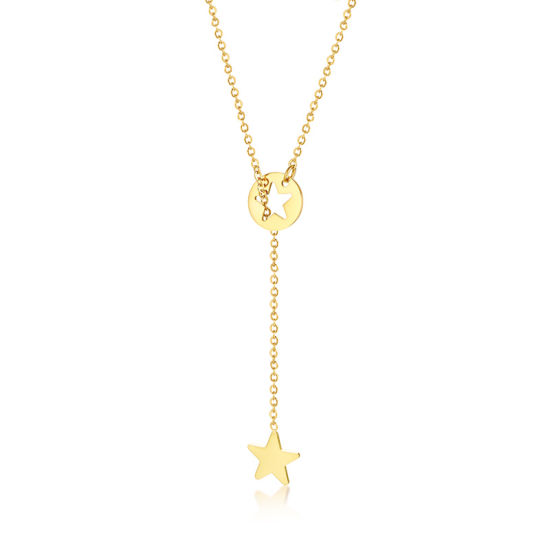 Hot Selling Simple Long Chain Star Shape Pendant Charm Jewelry Necklace 925 Sterling Silver