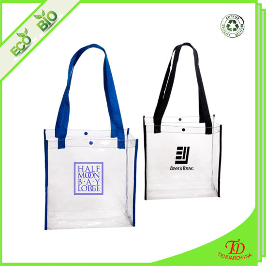 ca185a08a618 Promotion Clear PVC Shopping Bag Tote Bag Vinyl Reusable Grocery Bag Carry  Beach Bag. Get Latest Price