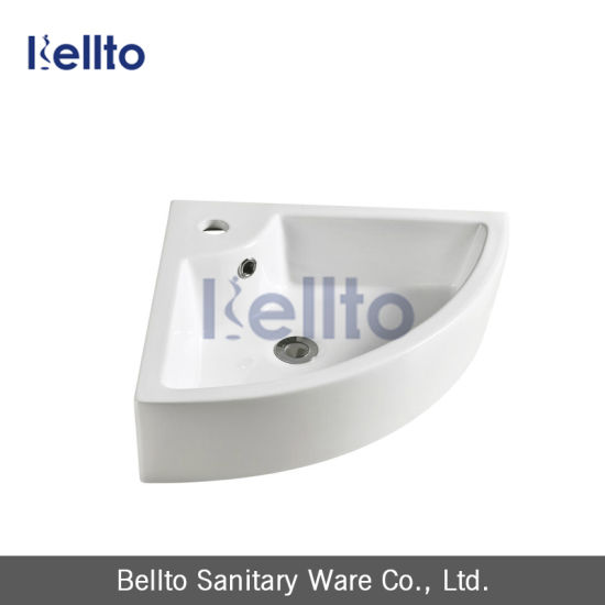 Small Size Ceramic Wall Mounted Corner Hand Wash Basin 3503