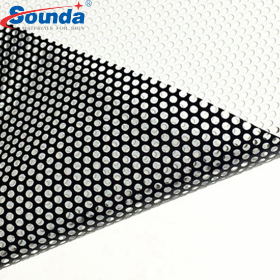 Glossy Surface Micro Perforated Vinyl Window Film Covering One Way Vision for Wide Format