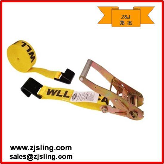 "25 -100mm Flat Hook Ratchet Strap 2"" X 27' Yellow"