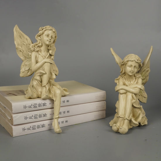 Garden Decor Small Size 2 Ass Fairy Sitting Resin Angel Figurines