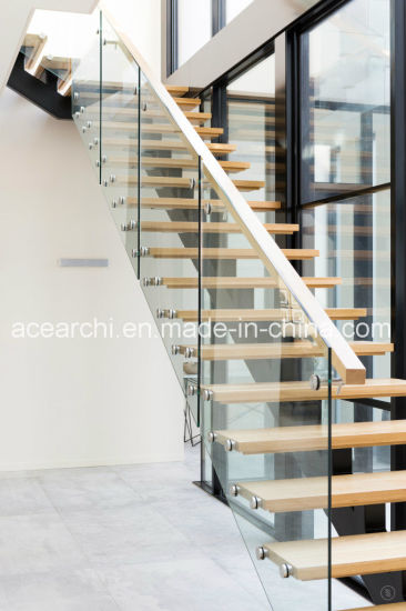 Straight Staircase With Solid Wood Treads/Stainless Steel Staircase