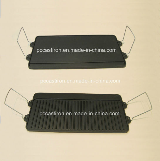 Cast Iron Griddle Pan with Preseasoned Coating Approved by LFGB, Ce, FDA, SGS pictures & photos
