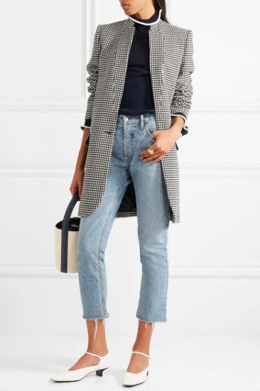 2017 Hot Sale Classic Houndstooth Wool-Blend Plaid Women Coat