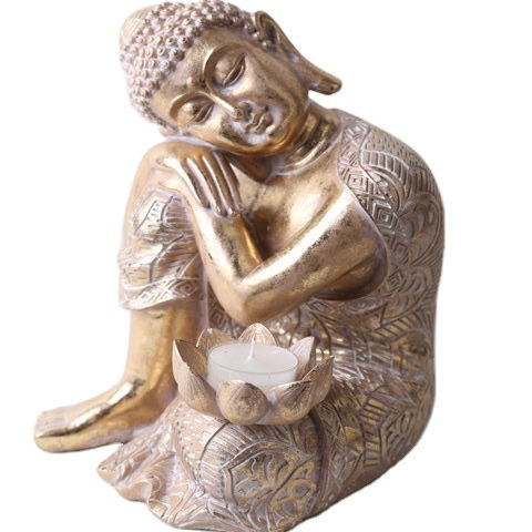 2020 Hotsell Big Tabletop Peaceful Meditating Golden Buddhist Sitting Resin Thai Buddha Statue