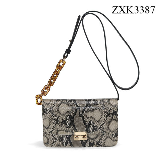 Wholesale Manufacturer Customized Ladies Handbag Woman Cross Body Bag PU Shoulder Bag with Snake Grain