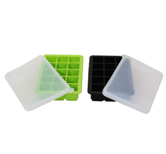Wholesale Custom Reusable Personalized Silicone Ice Cube Tray with Lid