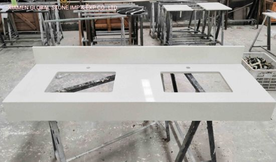China Factory Artificial Stone Venetia Cream White Quartz Bathroom Double Sink Vanity Tops for Hotel