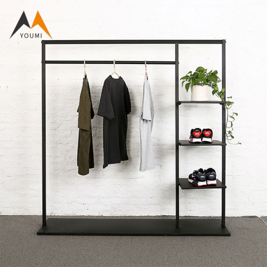 Customized Fashionable Modern Gold Metal Clothing Shop Display Stand