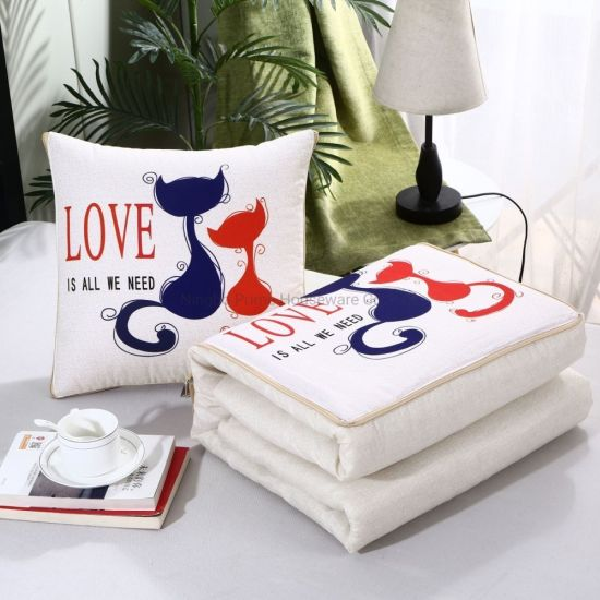 Multi-Functional Pillow Quilt Dual-Use Cushion Pillow Blanket Home Decoration Car Travel Cushion