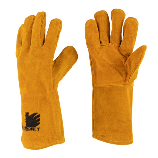 Golden Cow Split Leather Welding Welder Safety Work Glove with Ce Approved