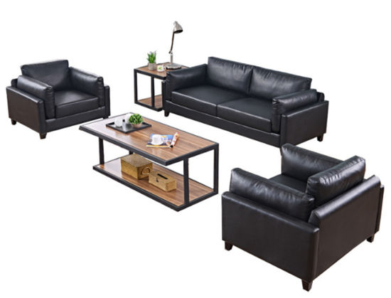 Modern Chinese Soft Seating Executive Reception Office Genuine Leather Sofa