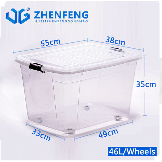 Top Quality Best Durable High Transparency Clear Plastic Products PP Material Storage Food Container Gift Packing Box with Wheels Lids Wholesale