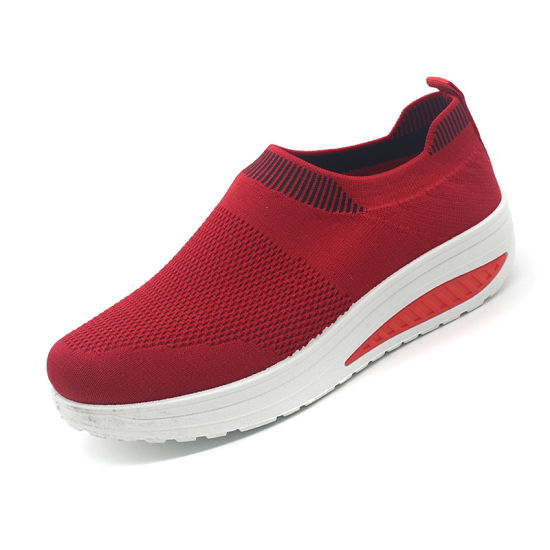 Four Color Women High Heel Knit Casual Shoes for Women with Factory Price