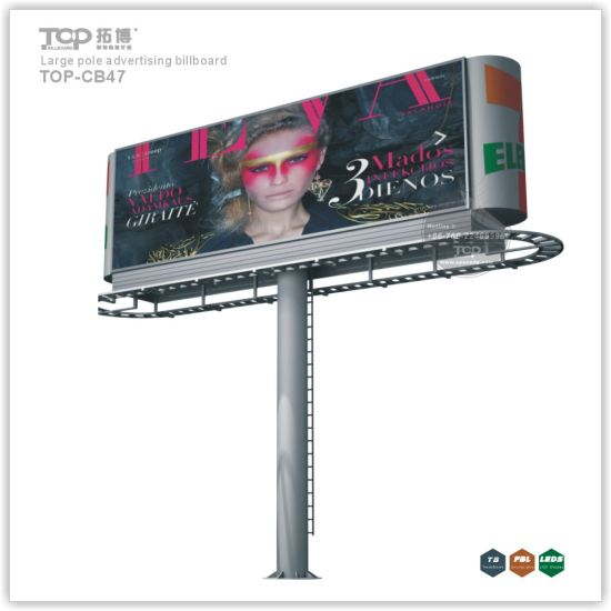 Outdoor Large Pole Double Faced Light Box, Trivision Advertising Billboard