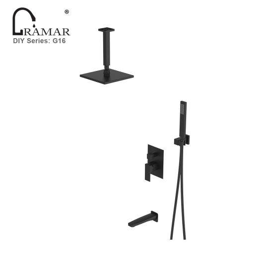 Concealed in-Wall Bathroom Bath Sanitary Ware Black Brass Shower Faucet