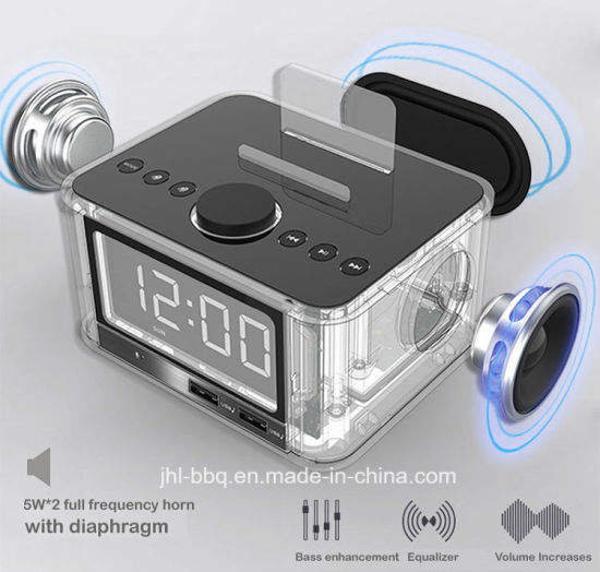 Fine Timepiece Combination with Alarm Clock FM Radio Audio Power Charger and 2X5w Horns Blue Tooth Speaker