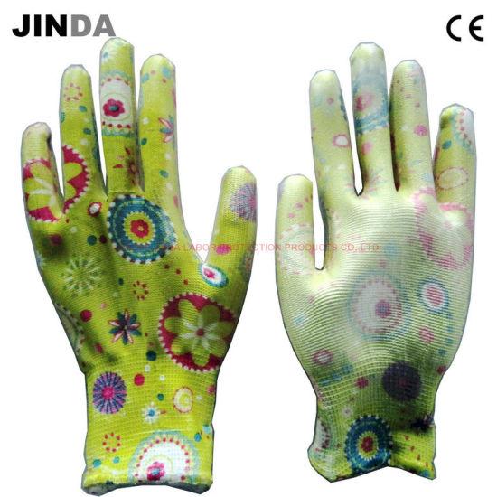Flower Color Polyester Liner PU Coated Garden Work Gloves (PU021)