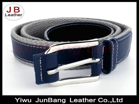 Leather Covered Buckle Braided Cotton Belt pictures & photos