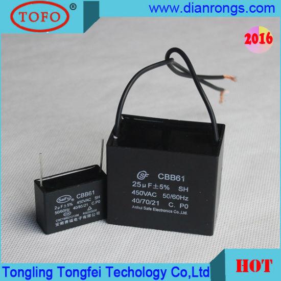 cbb61 0 82uf 450v 2 wire capacitor pictures & photos